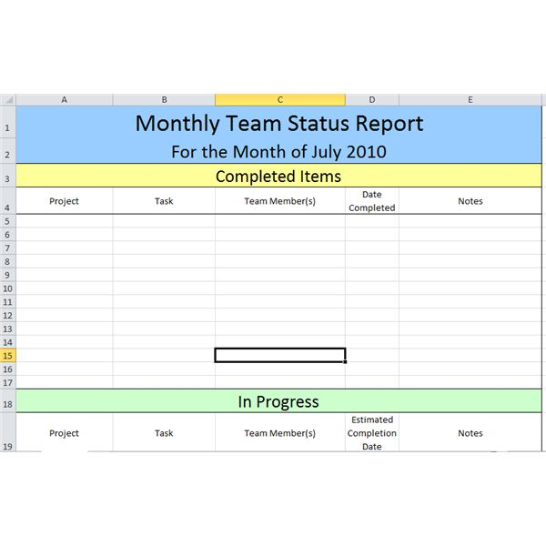 screenshot of monthly status report template