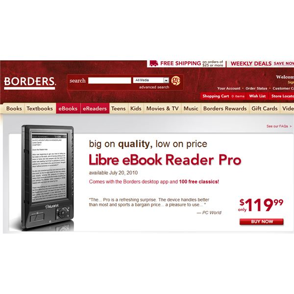 Aluratek on sale at Borderes ereaders store - Borders site page