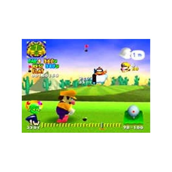 Fun fact: Wario's shoes are pink in Mario Golf, rather than their usual green color.