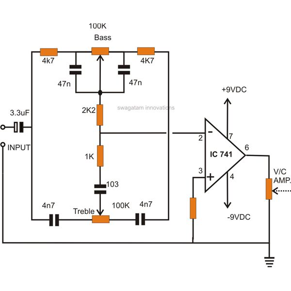 Simple Active Tone Control Circuit - Wiring Diagrams •