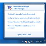 Example WIndows Action Center Messages