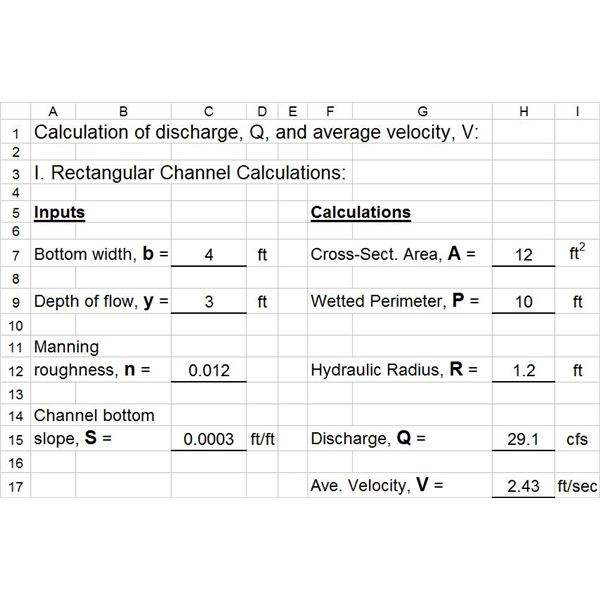 Excel Templates for Manning Equation/Uniform Open Channel