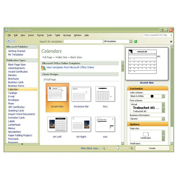main calendar templates window