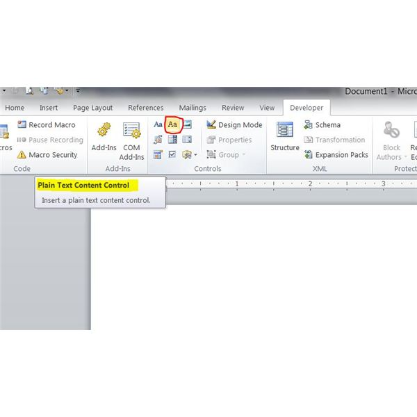 Creating Forms in Word: Plain Text Content Control