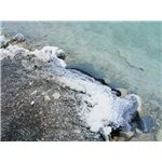 Salt covered stones at Dead Sea