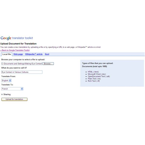 Google Translator Toolkit - Upload File
