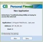 Application warning