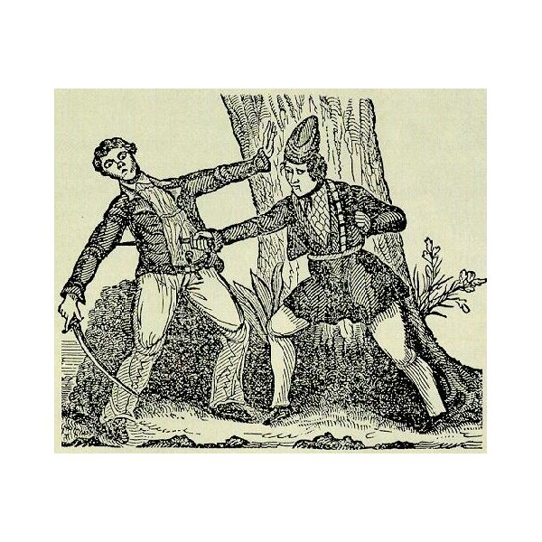 Mary Read running an opponent through- historical engraving