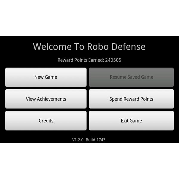 Robo Defense Main Menu