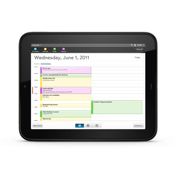 Calendar on the HP TouchPad