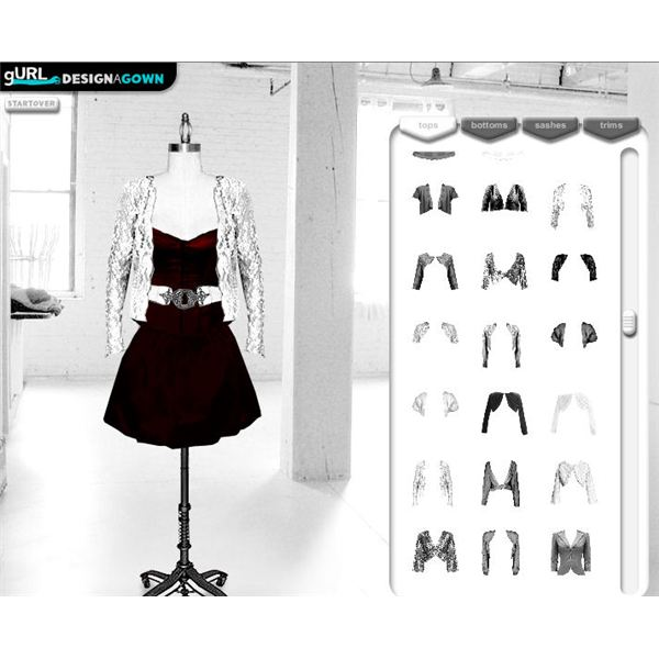 gurl design a gown the online game for teenage