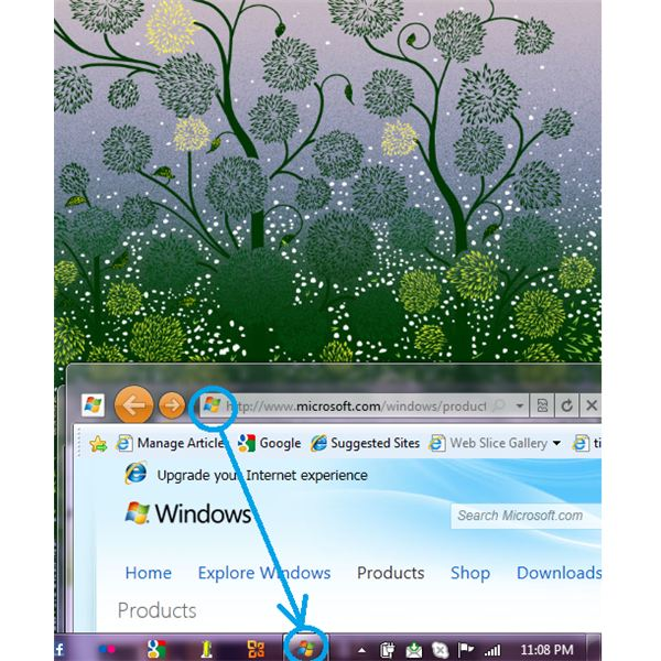 Using the IE9 feature to pin a site to the task bar is best done by bringing the app logo close to the task bar