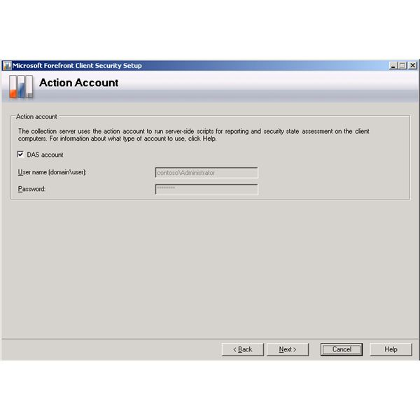 Forefront Client Security Installation Wizard - Action Account