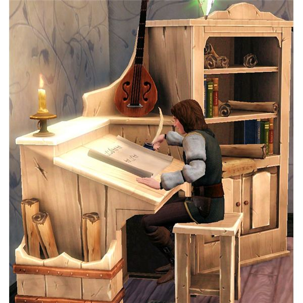 The Sims Medieval Bard writing a play