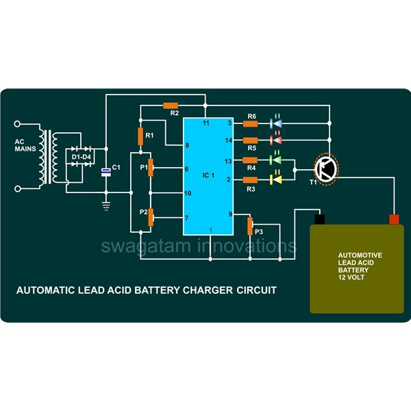 How to build a 12v automotive battery charger using a ic tca 965 automatic battery charger circuit diagram image ccuart