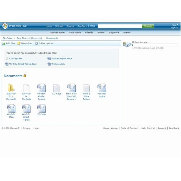 Windows Live SkyDrive Documents