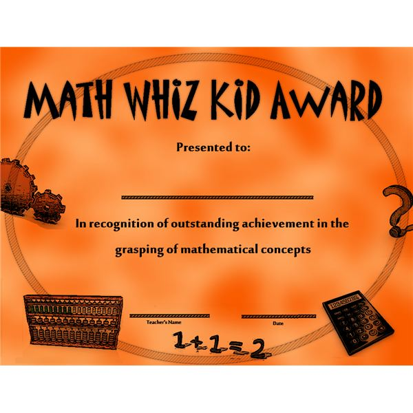 Use this Math Whiz kid award to celebrate a child's achievements
