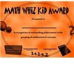 Use this Math Whiz kid award to celebrate a child's achievements