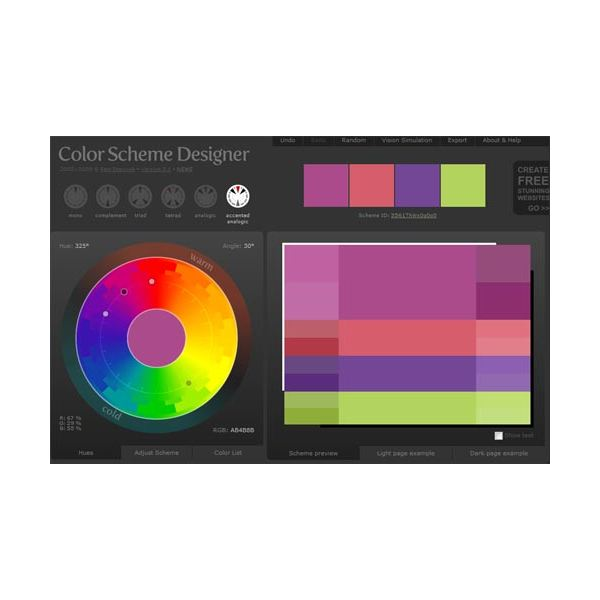 A screen shot of the interface of Color Scheme Designer.