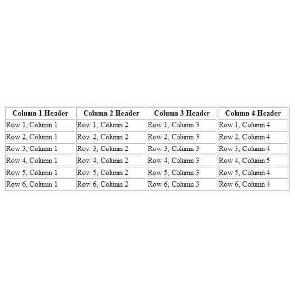 Table Template With 4 Columns and 6 Rows