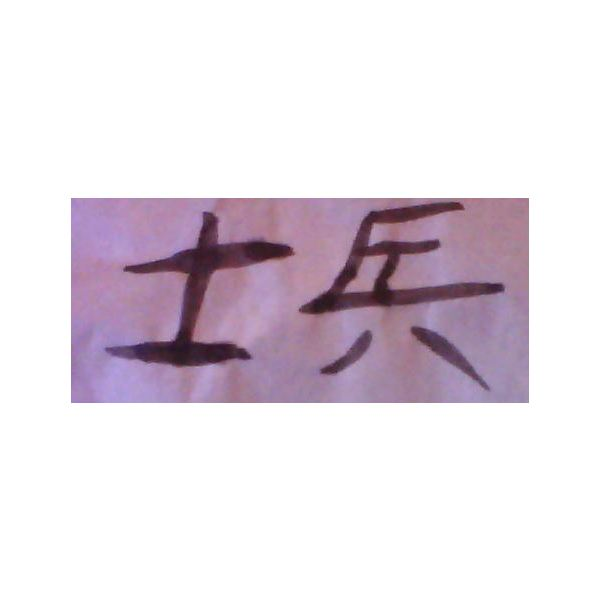 The Chinese character shi4 bing1 or soldier.