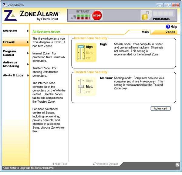 ZoneAlarm Free UI