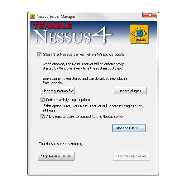 Selecting to Manage Nessus Users