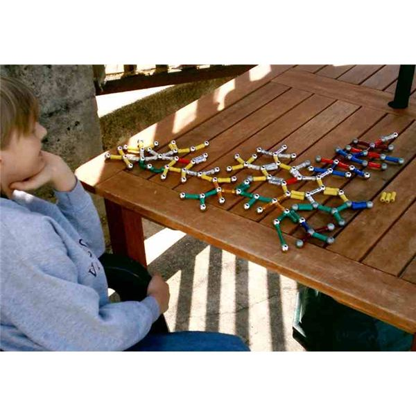 Child with AS fixated on a molecular structure.