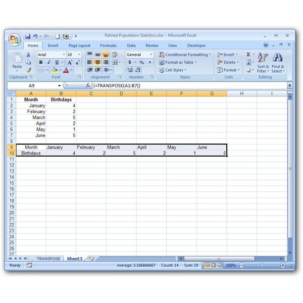 Excel's Transpose Function