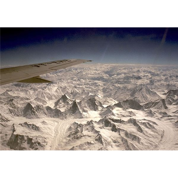 himalayan mountains from air