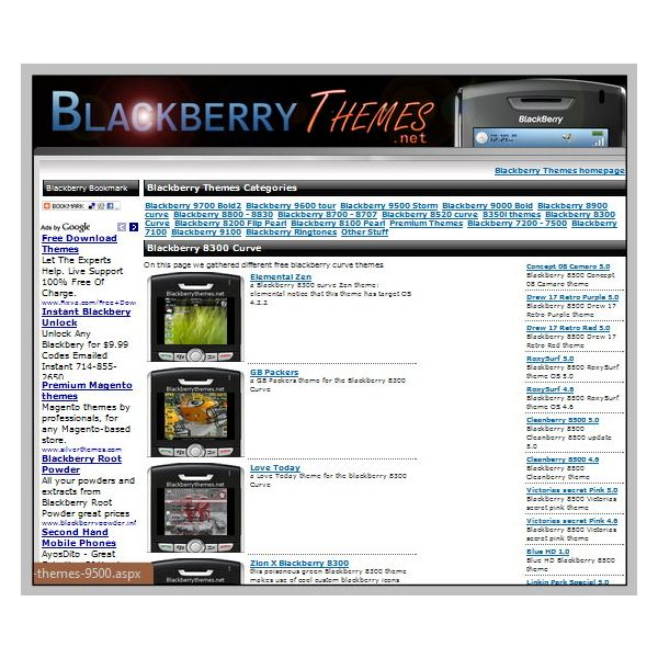 Online Sources for Blackberry Curve Themes