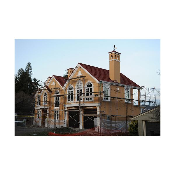 New House Construction With Romantic Flourishes and Details, Curved Windows, Dormers, Eagle Wind Vane, North Matthews Beach, Sand Point Way Uplands, Seattle, Washington, USA – Wonderlane
