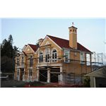 New House Construction With Romantic Flourishes and Details, Curved Windows, Dormers, Eagle Wind Vane, North Matthews Beach, Sand Point Way Uplands, Seattle, Washington, USA -- Wonderlane