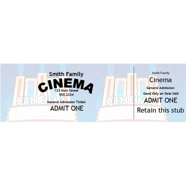 Home Theater Gift Ideas Custom Tickets