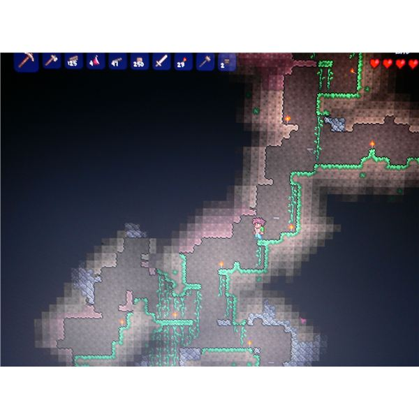 Descending below the surface in Terraria.