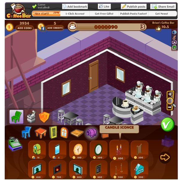 Coffee bar review cafe games on facebook for Food bar games free online
