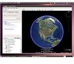 Google Earth showing the world globe on Ubuntu 10.04