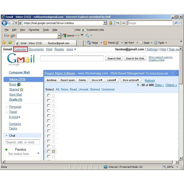 Step One - Accessing Google Calendar via Google Mail