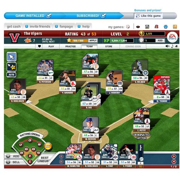 Baseball Browser Games: EA Sports World Series Superstars