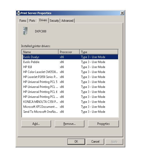 Windows 7 Print Server Properties