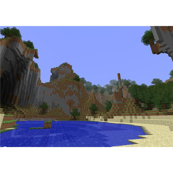 Single Player Beach View in Minecraft Alpha