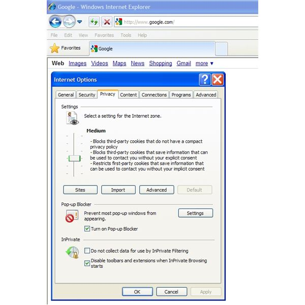 Figure 1: Enable and Disable Cookies in Internet Explorer 8