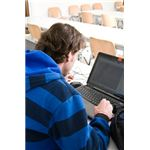 Student using a laptop.