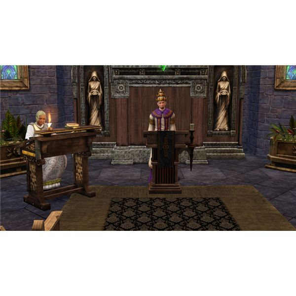 The Sims Medieval Jacoban Priest in Church