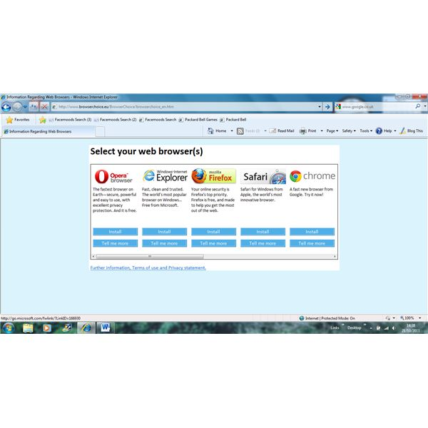 Select your browser page in Internet Explorer 8