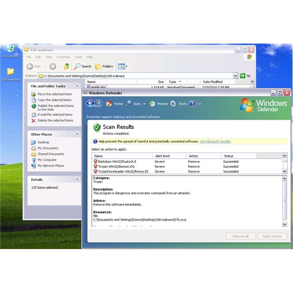 55 out of 180 malware detected by Windows Defender