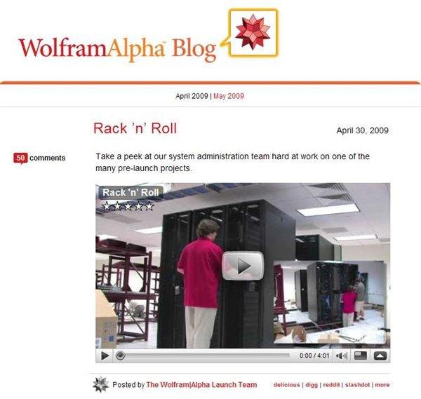 Wofram Alpha Blog shows servers set up
