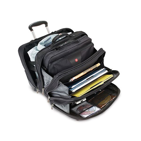 Wengar Patriot Rolling Case Blk Up To 17in Laptop With Notebook Open