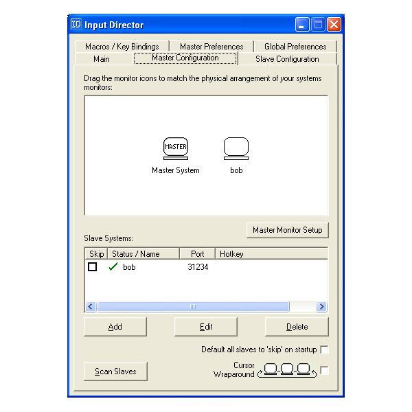 Example of Master Configuration Tab