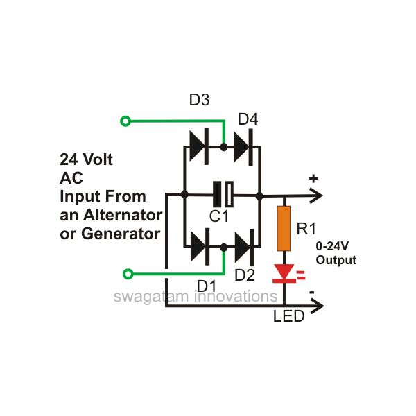 24 volt ac to dc 20 amp Converter Connection Diagram, Image, Picture